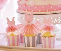 Paper Lace Party Dress Cupcake Toppers for Princess by JeanKnee