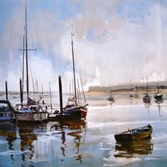 Ray Balkwill — The South West Academy Landscape Paintings, Watercolor Art Landscape, Holiday Painting, Boat Art, Watercolor Landscape, Watercolor Ocean, Marine Painting, Seascape Paintings, Watercolor Boat