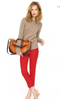 camel + red. Great Fall color combo.