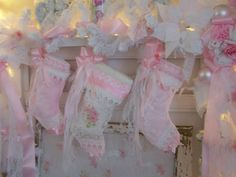 Shabby ChicChristmas Stockings from Olivia's Romantic Home: My Shabby Chic Christmas Home Tour