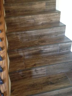 Perfect Wood Look Tile Stairs