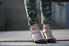 camo pants, valentino shoes