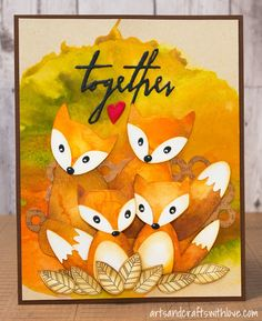 Friendly foxes on a die-cut mixed media card. - by Elina Stromberg -