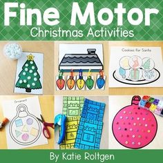 This Christmas Fine Motor Activities Set is great for PreK, Kindergarten or homeschool classrooms. Includes ten fine motor activities that are perfect for small groups, morning tubs, early or fast finishers, gifted & talented education {GATE}, centers & more. Preschoolers and Kinders will enjoy paper tearing, cutting activities, line tracing, tweezing, counting, stickers, gluing, trace & cut, hole punching, letter writing, linking & pinning. These are perfect for holiday celebrations & parties.