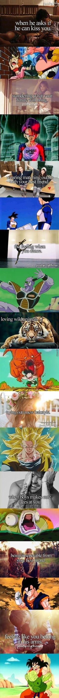 "Just Some Dbz Things. Giggled a little too much when I got to the ""Wearing matching outfits with your best friend"" picture. #QuotedByToniZibert The Cell pic killed me xDD"