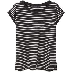 MANGO Striped Cotton T-Shirt (13 CAD) ❤ liked on Polyvore featuring tops, t-shirts, stripe top, stripe tee, mango t shirt, short sleeve t shirts and round top