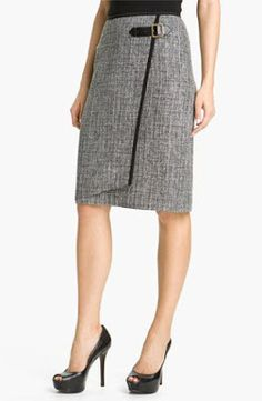 Nic + Zoe Faux Wrap Tweed Skirt available at Nordstrom Modest Outfits, Skirt Outfits, Dress Skirt, Office Fashion, Work Fashion, Corporate Fashion, Business Outfits, Look Chic, Black Trim