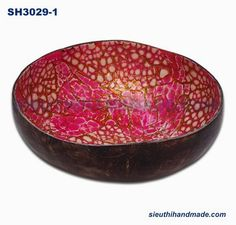 Coconut Bowl Made In Viet Nam: Coconut Bowl Lacquer With Eggshell In Laid  Pink Co