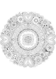 Flowers for my Heart - Colour with Me HELLO ANGEL - coloring, design, detailed, meditation, coloring for grown ups, floral, hearts, love