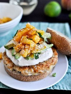 Shrimp Burgers w/ Chipotle Cream  Coconut Peach Salsa- yum! Swap sour cream for non-fat Greek yogurt.