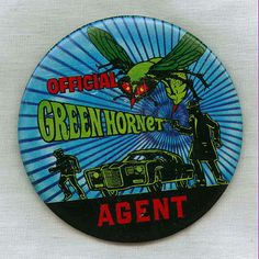 Vintage 1966 Green Hornet Agent pinback button