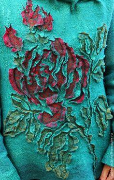 Кофты и свитера ручной работы. Свитер валяный Любимые розы. Марина Власенко…