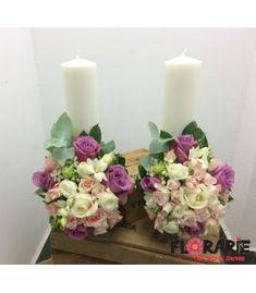 Lumanari nunta scurte - mix de trandafiri pastel