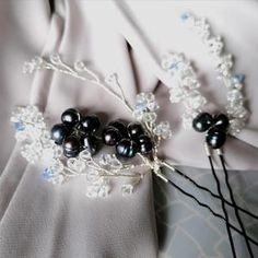 Aria Pearl Hairpins – Alexandra Bespoke Pearl Hair Pins, Circlet, Peacock Blue, Blue Fashion, Bridal Accessories, Hair Pieces, Fresh Water, Vines, Swarovski Crystals