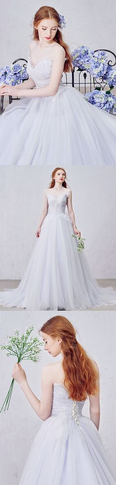 Perfect for fairy tale wedding , lilac wedding dresses have us ready to embrace the romantic side. These gowns prove that daring to be different can be a very good thing. Shop this lilac v-neck court train tulle wedding dress with beading on GemGrace.com