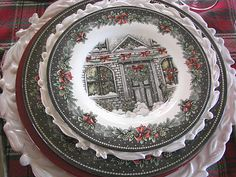 Love these transferware dinner plates.   Friendly Village dishes, made by Johnson Brothers, in the fall and winter.