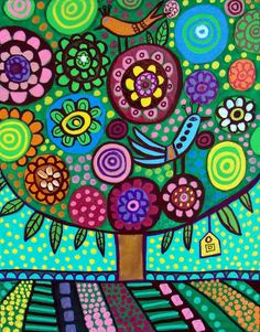 PRINT Flowers Tree Abstract Folk Art Painting Birds | eBay