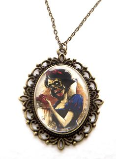 Zombie Snow White Necklace by Goraline on Etsy, $10.00