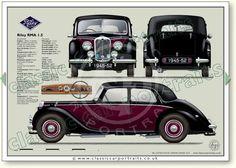 Riley RME (two-tone version) classic car portrait print Car Prints, Blue Prints, Vintage Cars, Antique Cars, Automobile, Car Purchase, Classic Mercedes, Car Illustration, Car Posters