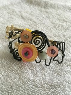 Vintage Wire Cuff Bracelet with Bead and by meggafinejewelry