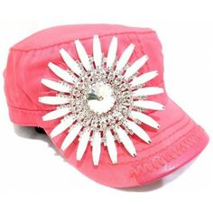 If you love PINK! This would be a very cool Bling hat.   Olive  Pique Women's Flower Deco Cadet Cap
