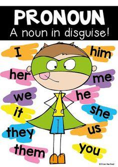 Pronoun anchor chart freebie - so cute! Teaching Pronouns, Pronoun Activities, Nouns And Pronouns, Teaching Grammar, Grammar Lessons, Teaching Writing, Teaching English, Teaching Resources, English Grammar