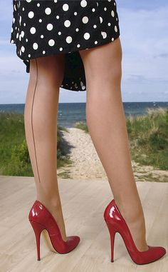 Red heels, always a winner. seams, stockings or tights so sexy and polka dots.well they always look great