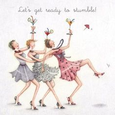Cocktails Greeting Card – Lets get ready to stumble! – Berni Parker Cocktails Greeting Card – Lets get ready to stumble!