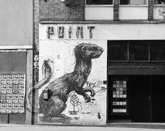 Weasal found in East London by Belgian street artist Roa. The artist is especially known for his large-scale animal portraits incorporated into their surroundings and drawn in his distinctive black and white style.