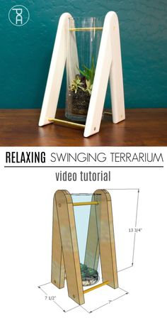 How to make a super relaxing swinging glass and wood terrarium from an inexpensive vase and a couple of boards. Makes a perfect desk toy or for meditation. Diy Furniture Plans, Diy Furniture Projects, Diy Craft Projects, Home Projects, Redoing Furniture, Diy Crafts, Drilling Holes In Glass, Desk Toys, Metal Homes