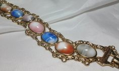 Vintage Estate Gold Lucite Moonstone Cabochon Marbled Scarab Linked Bracelet #Unbranded #Chain