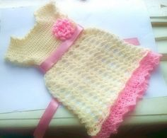 baby dress and hat in cream and light pink newborn por paintcrochet, $50.00