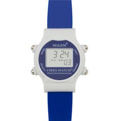 Malem Vibro-Watch in Navy.  A small, colourful, digital multi-function alarm watch suitable for children and young people Up to 12 independent specific-time alarms can be programmed Can be used for timed voiding, bladder emptying, medication and behavioural modification