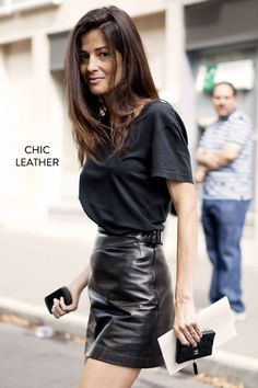 AHHHHHH! THIS LEATHER SKIRT!!! I love it! And the high neckline with the loose, baggy shirt ontop totally pulls it off. I'm cool with leather.