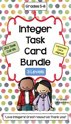 These 252 Differentiated Task Cards cover Integers.  There are 7different topics with 36 task cards for each of the 7 topics for a total of 252 Task Cards.  Each of the 7 Topics is differentiated with 12 cards for Level 1 (Basic) 12 cards for Level 2 (Intermediate) and 12 cards for Level 3 (Advanced).  With 3 different levels of cards you can differentiated by student or class.