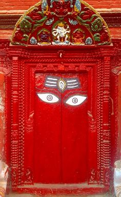 Red door in Kathmandu, Nepal.