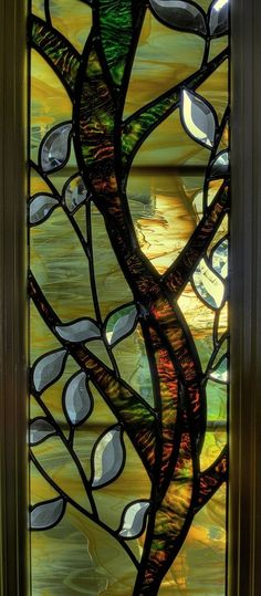 Custom Made Stained Glass Sidelights And Transom * textured ripple glass for bark