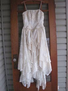 Cream+Wedding+dress+tattered+wedding+dress+1012+by+ShabyVintage,+$177.00