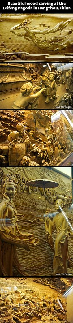 Beautiful wood carving in China...