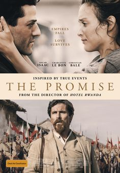 """The Promise tagline: """"Empires fall."""" directed by: Terry George starring: Oscar Isaac, Charlotte Le Bon, Christian Bale, Shohreh Aghdashloo Streaming Movies, Hd Movies, Movies Online, Movie Tv, Movie To Watch List, Good Movies To Watch, Great Movies, Christian Bale, Movies Showing"""