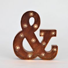 Vintage Lighted Ampersand Symbol Battery Marquee Light with 12 Warm White LEDs, Rustic Metal, Timer Option Available