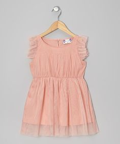 Look what I found on #zulily! Peach Angel-Sleeve Dress - Infant, Toddler & Girls by Twindollicious #zulilyfinds