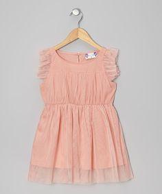 Love this Peach Angel-Sleeve Dress - Infant, Toddler & Girls on #zulily! #zulilyfinds