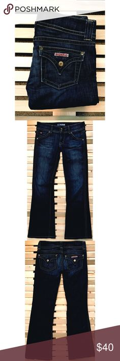 """Dark Blue Hudson Jeans Size 27 Adorable pair of dark blue Hudson jeans! Size 27 with a 27"""" inseam. Very flattering on! Boot cut. In perfect condition except very slight fray (pictured) on bottom Hudson Jeans Jeans Boot Cut"""