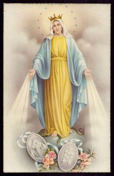 VIRGIN MARY & THE MIRACULOUS MEDAL Vtg GOLD EDGE HOLY CARD POSTCARD