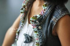 Adding a trim of ruffle edge to denim vest.....{{would be cute on a jean jacket too you could add some to the cuffs}}