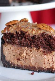 My favorite German chocolate cake and cheesecake together - Yummy! - German Chocolate Cheesecake