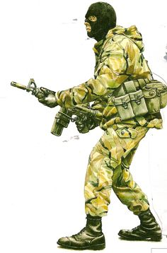 Trooper from 22 SAS Regiment Falklands War Special Air Service, British Armed Forces, Falklands War, Green Beret, Modern Warfare, British Army, Military Art, Special Forces, Call Of Duty