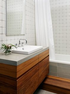 Teak and Concrete Bathroom - Williamsburg Renovation - modern - bathroom - new york - General Assembly