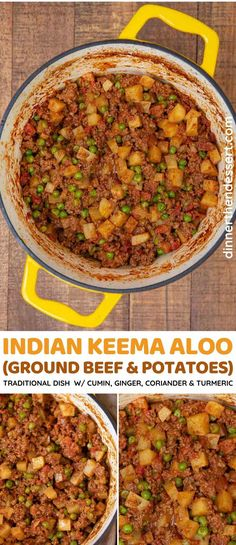 Indian Keema Aloo is a traditional one-pot dish of spicy ground beef and tender potatoes. This Indian recipe is a perfect beef stew for a weeknight dinner! Apple Recipes Indian, Asian Recipes, Top Recipes, Potato Recipes, Healthy Recipes, Keema Recipes, Ground Beef And Potatoes, Delicious Dinner Recipes, Yummy Recipes